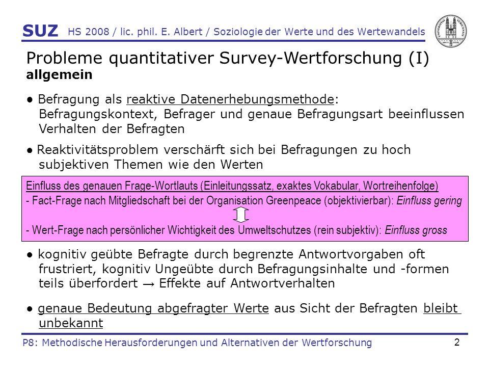Probleme quantitativer Survey-Wertforschung (I)