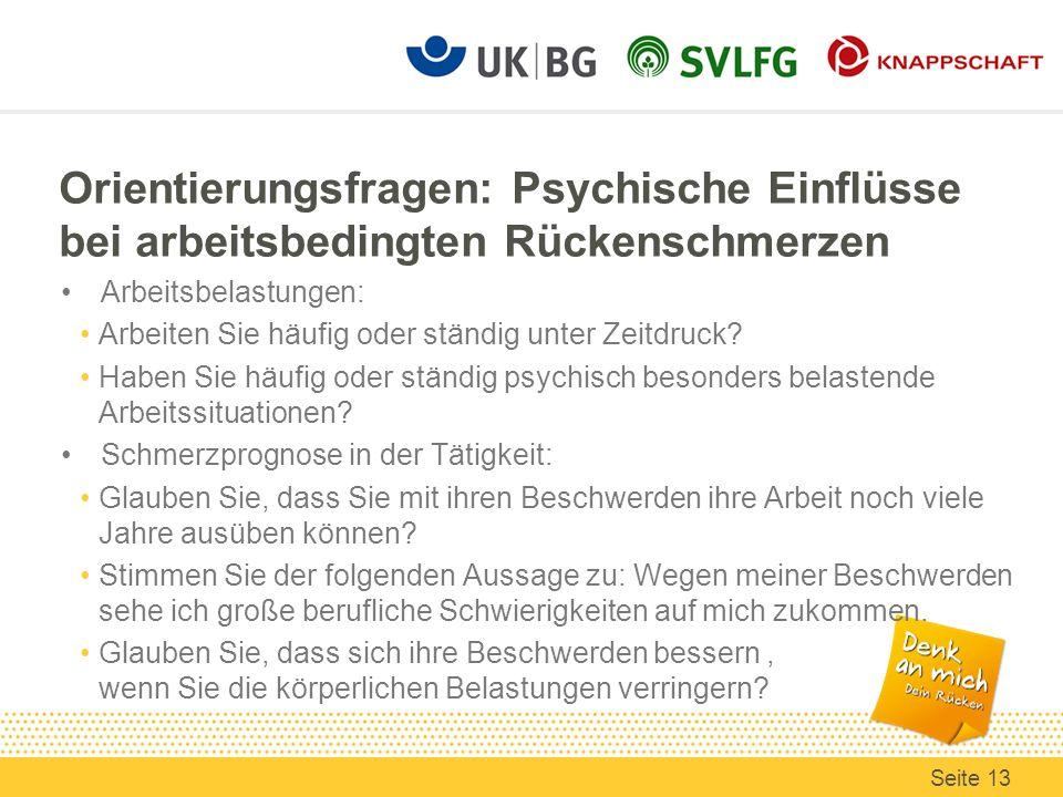 Orientierungsfragen: Psychische Einflüsse bei arbeitsbedingten Rückenschmerzen