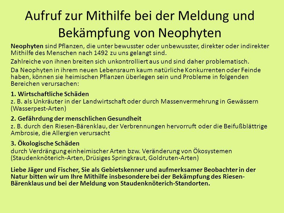 Aufruf zur Mithilfe bei der Meldung und Bekämpfung von Neophyten