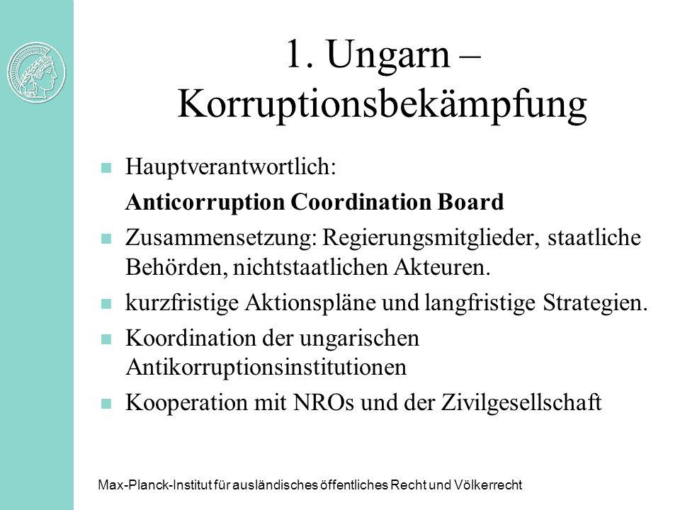 1. Ungarn – Korruptionsbekämpfung