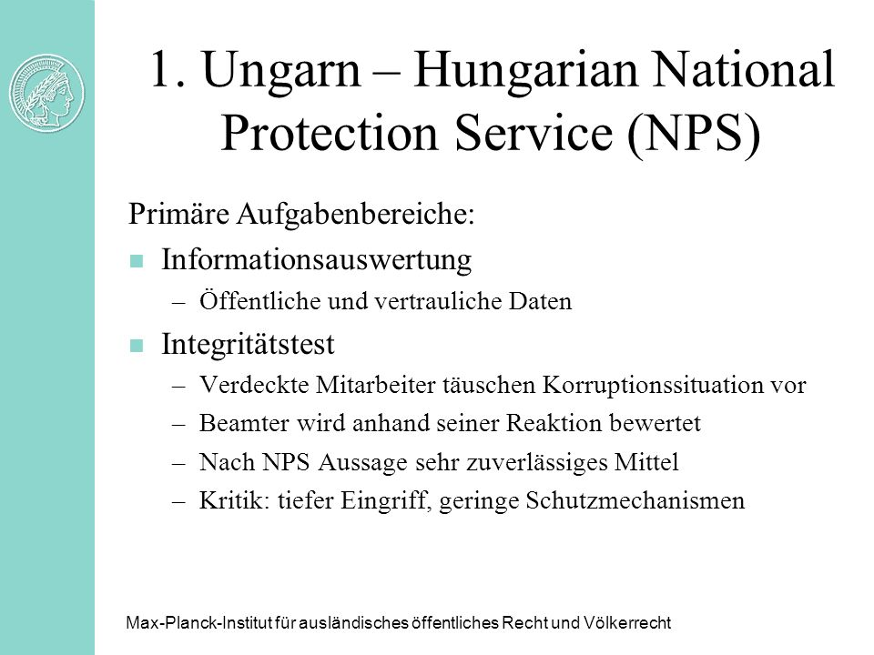 1. Ungarn – Hungarian National Protection Service (NPS)