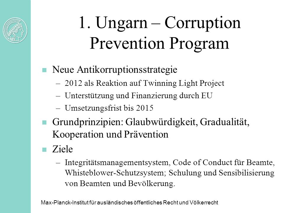 1. Ungarn – Corruption Prevention Program
