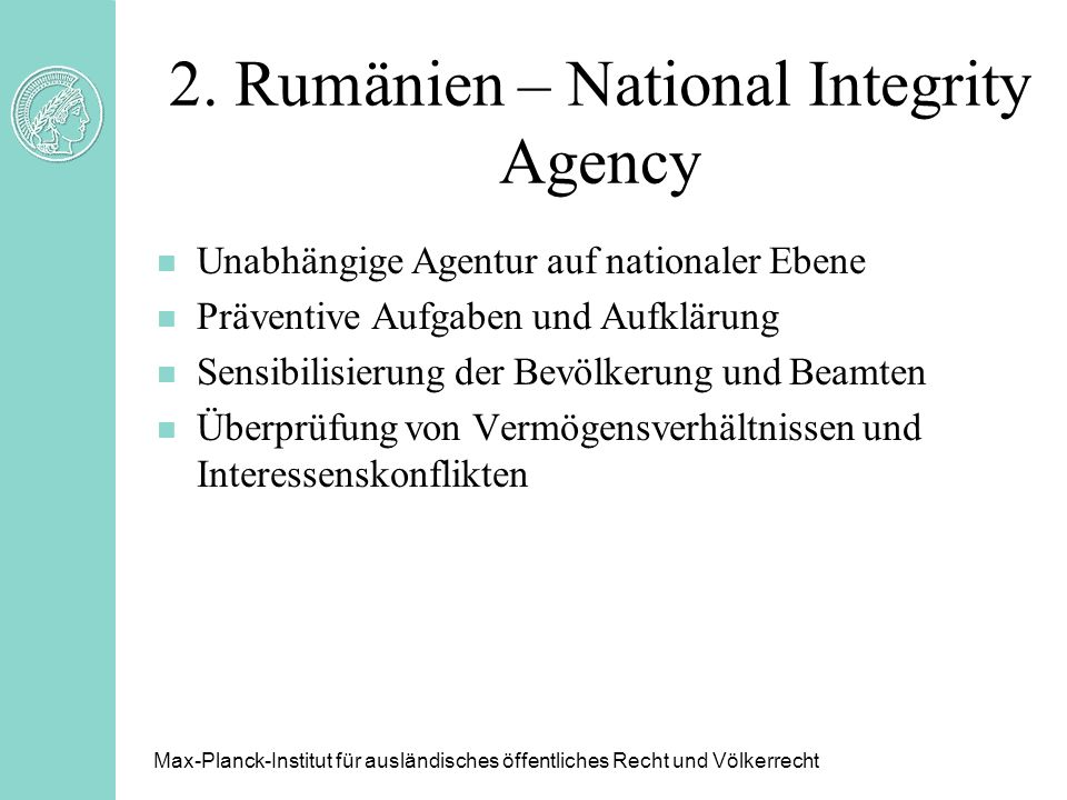 2. Rumänien – National Integrity Agency