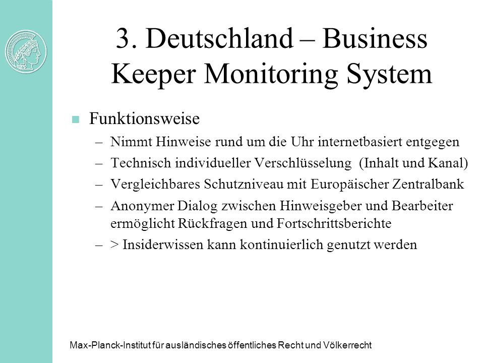 3. Deutschland – Business Keeper Monitoring System