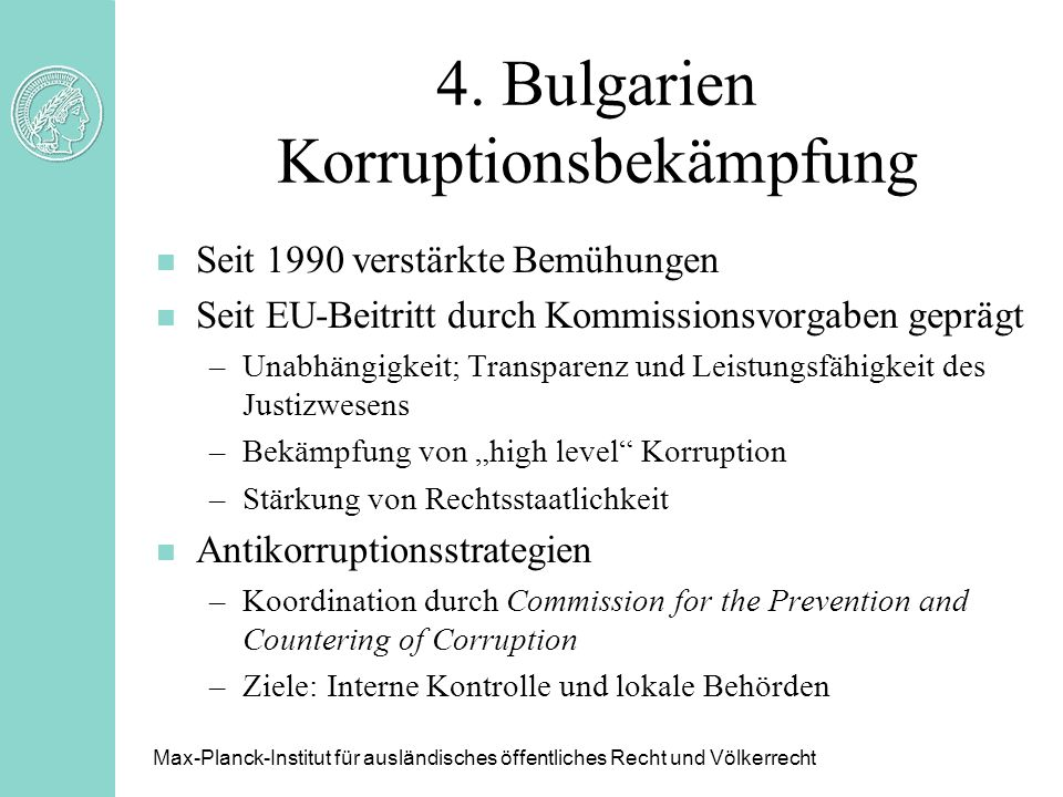 4. Bulgarien Korruptionsbekämpfung