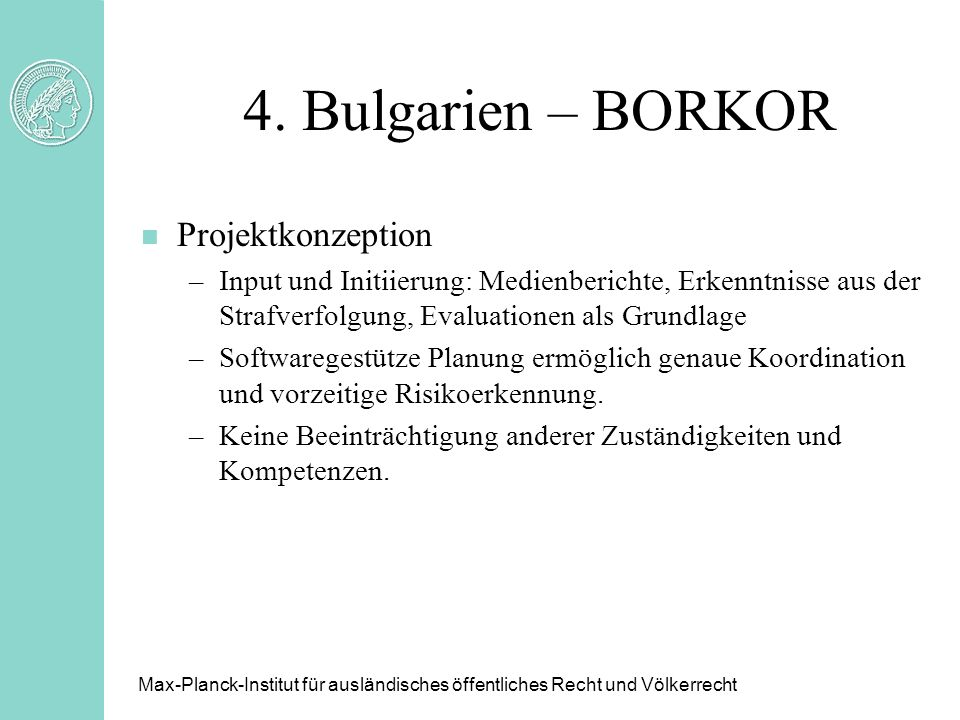 4. Bulgarien – BORKOR Projektkonzeption