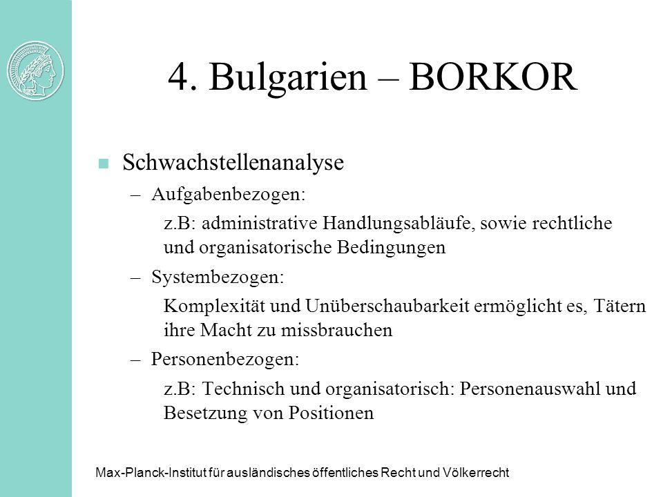 4. Bulgarien – BORKOR Schwachstellenanalyse Aufgabenbezogen: