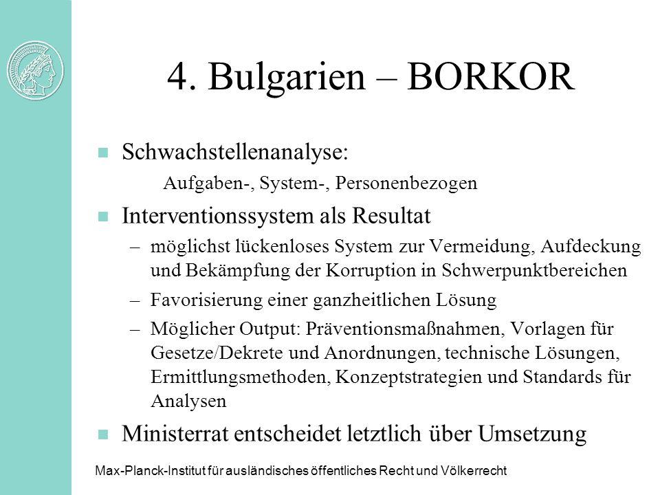 4. Bulgarien – BORKOR Schwachstellenanalyse: