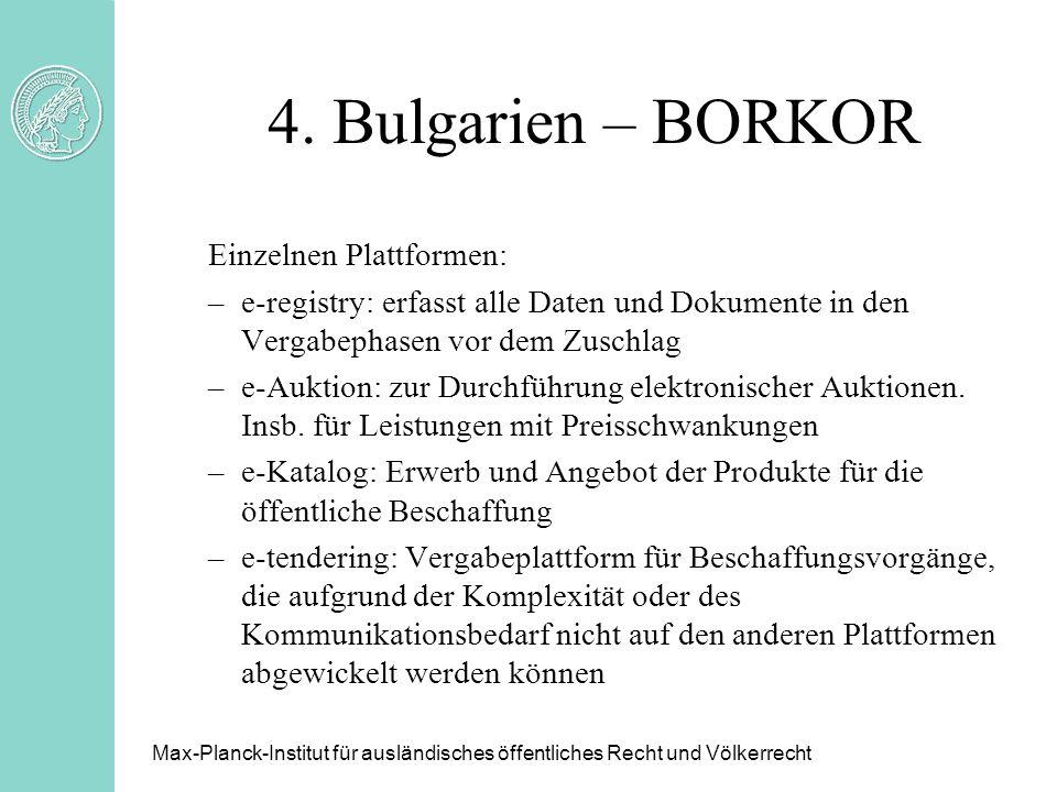 4. Bulgarien – BORKOR Einzelnen Plattformen:
