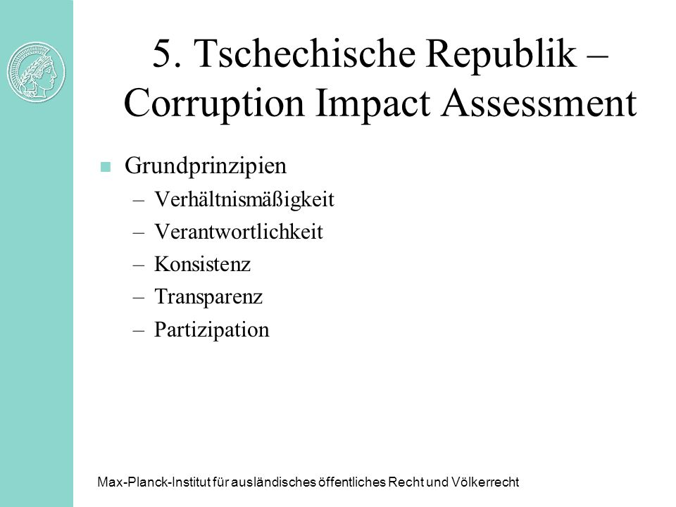 5. Tschechische Republik – Corruption Impact Assessment