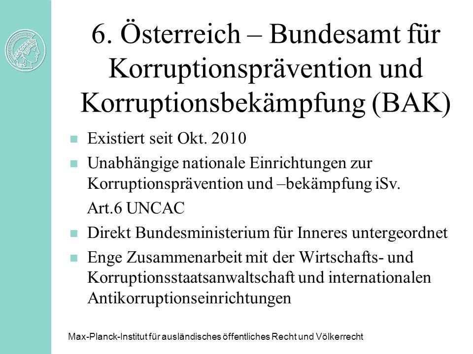 6. Österreich – Bundesamt für Korruptionsprävention und Korruptionsbekämpfung (BAK)