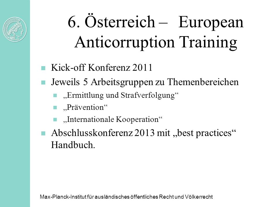 6. Österreich – European Anticorruption Training