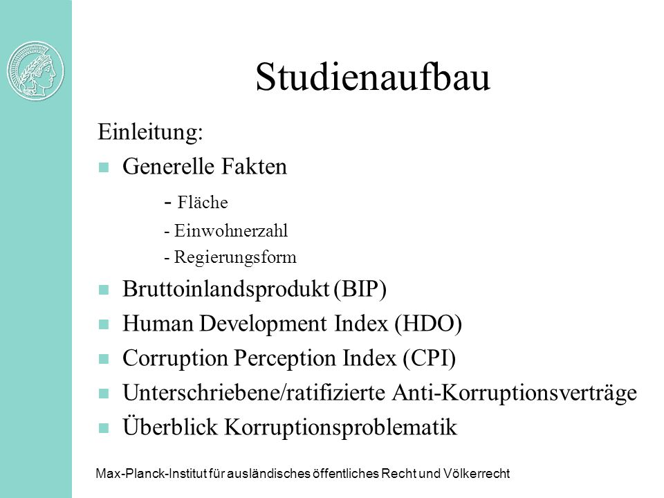 Studienaufbau Einleitung: Generelle Fakten - Fläche