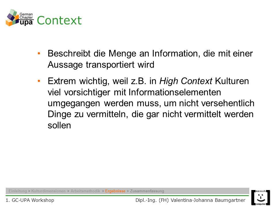Context Beschreibt die Menge an Information, die mit einer Aussage transportiert wird.