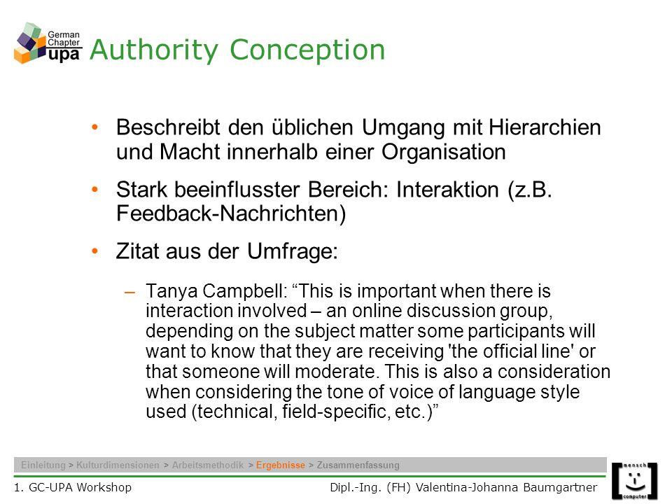 Authority Conception Beschreibt den üblichen Umgang mit Hierarchien und Macht innerhalb einer Organisation.
