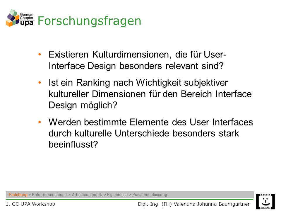 Forschungsfragen Existieren Kulturdimensionen, die für User-Interface Design besonders relevant sind