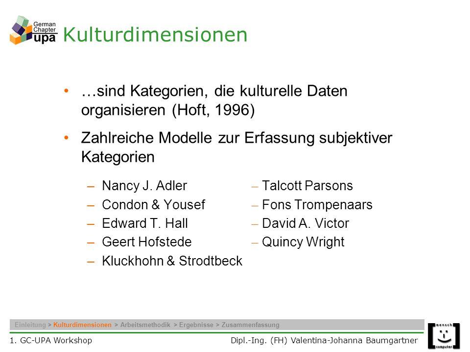 Kulturdimensionen …sind Kategorien, die kulturelle Daten organisieren (Hoft, 1996) Zahlreiche Modelle zur Erfassung subjektiver Kategorien.