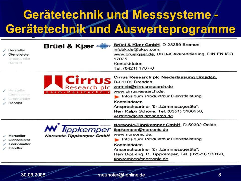 Gerätetechnik und Messsysteme - Gerätetechnik und Auswerteprogramme