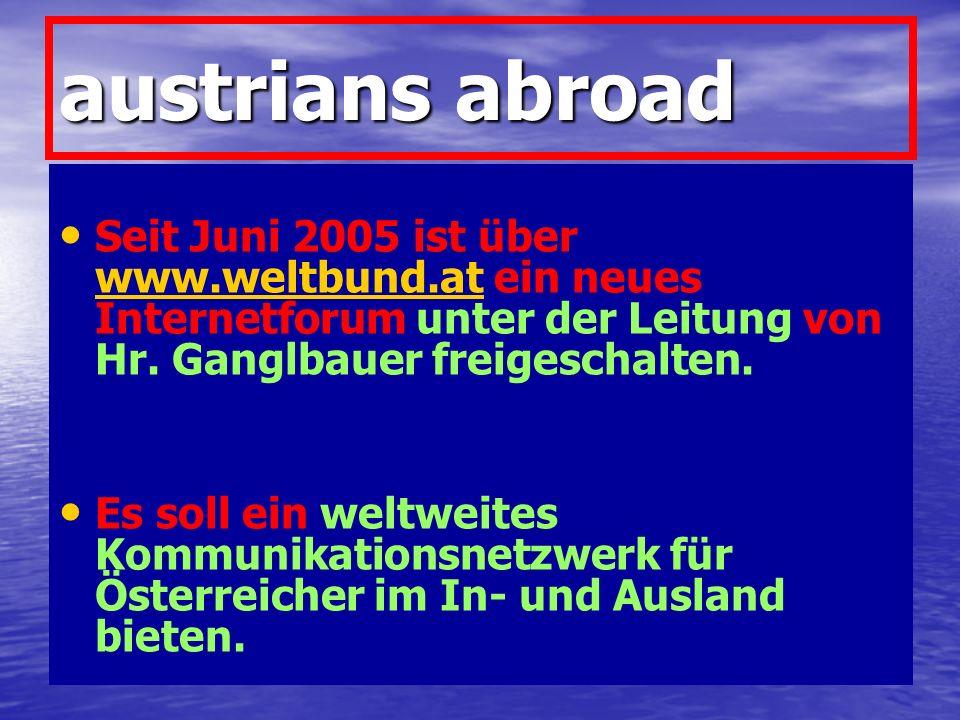 austrians abroad Seit Juni 2005 ist über www.weltbund.at ein neues Internetforum unter der Leitung von Hr. Ganglbauer freigeschalten.