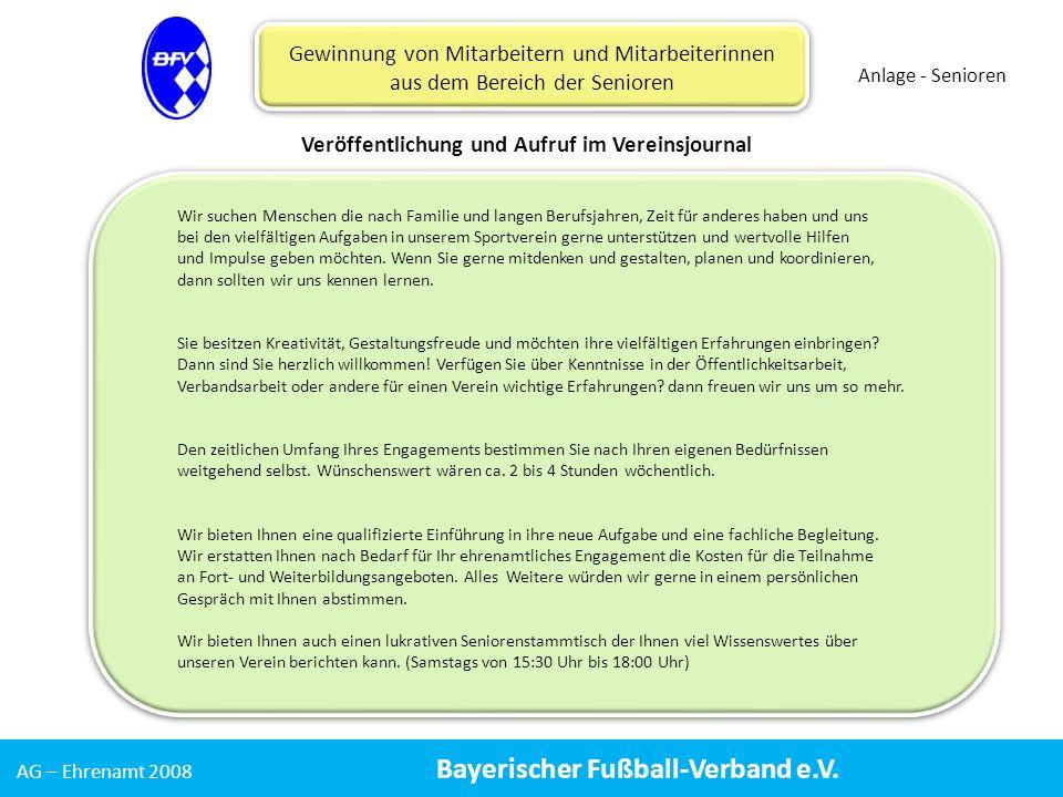 AG – Ehrenamt 2008 Bayerischer Fußball-Verband e.V.
