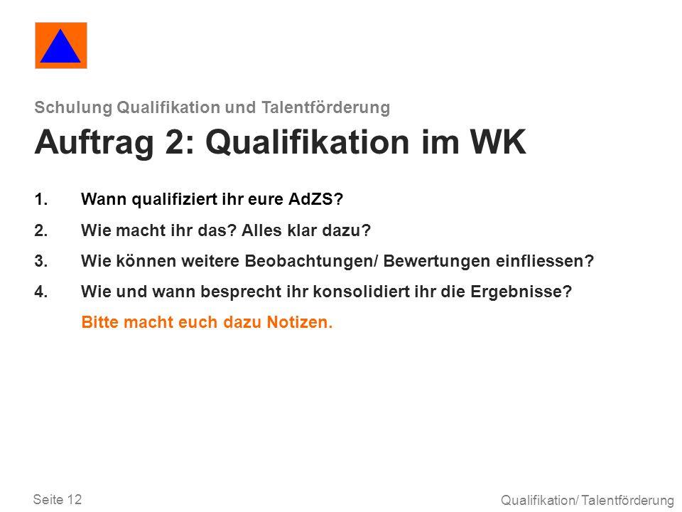 Schulung Qualifikation und Talentförderung Auftrag 2: Qualifikation im WK