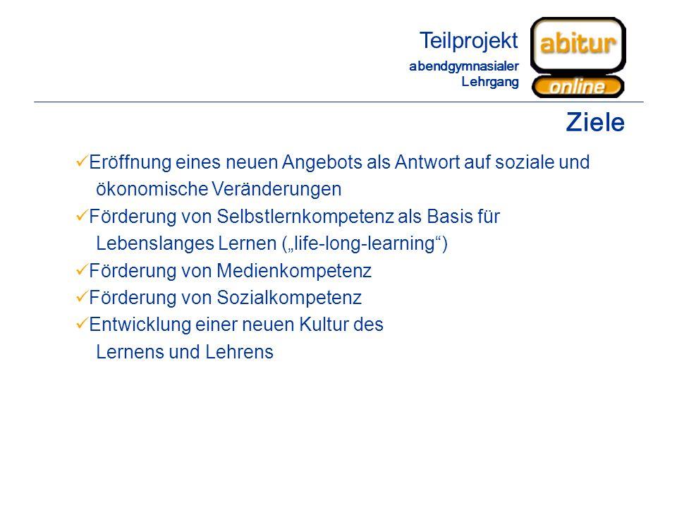 Teilprojekt abendgymnasialer Lehrgang. Ziele. Eröffnung eines neuen Angebots als Antwort auf soziale und.