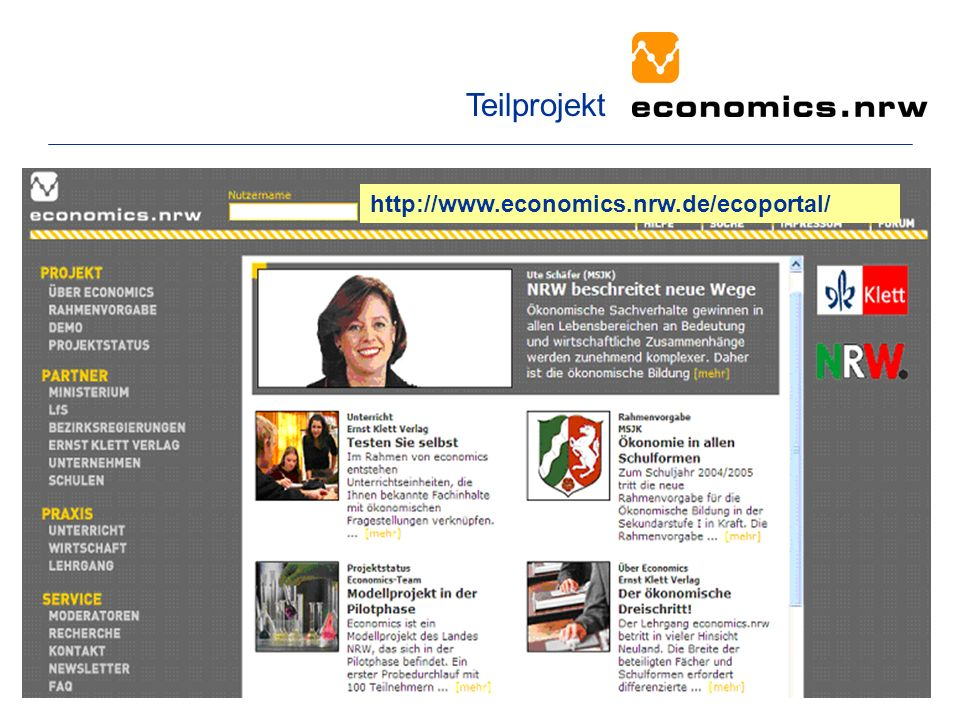 Teilprojekt http://www.economics.nrw.de/ecoportal/