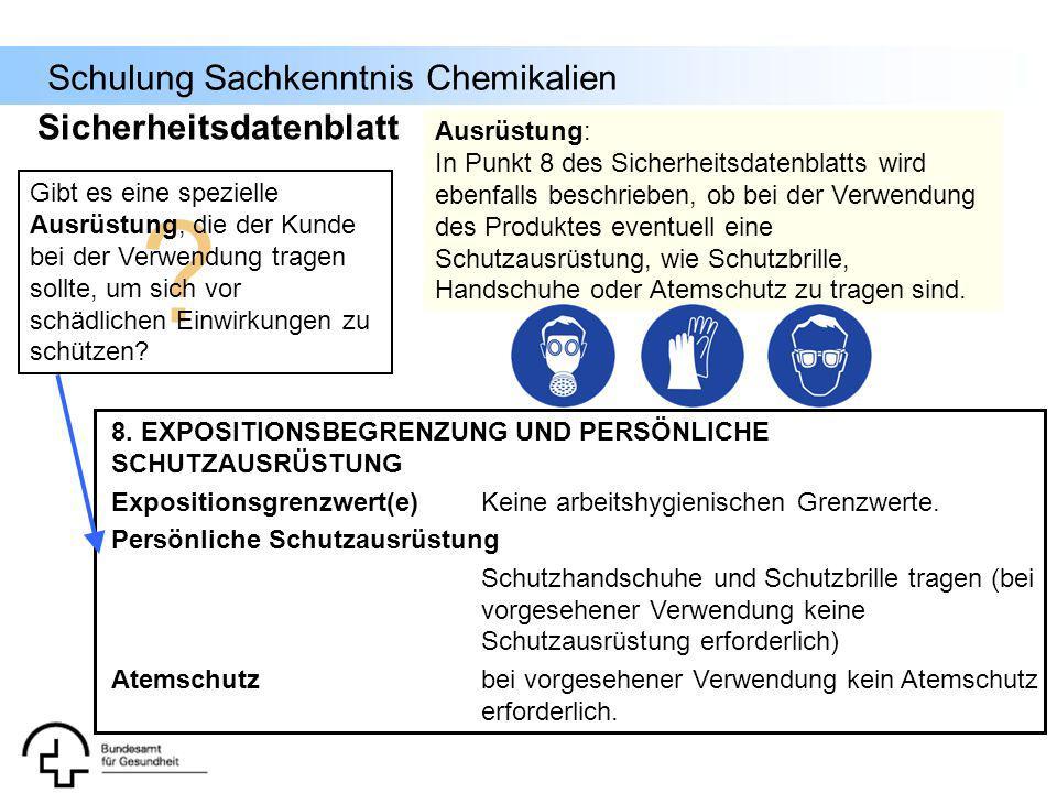 Sicherheitsdatenblatt Ausrüstung: