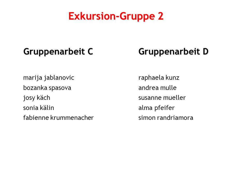 Exkursion-Gruppe 2 Gruppenarbeit C Gruppenarbeit D marija jablanovic