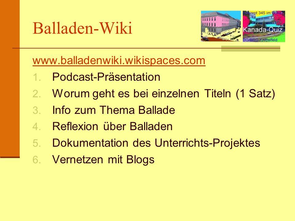 Balladen-Wiki www.balladenwiki.wikispaces.com Podcast-Präsentation