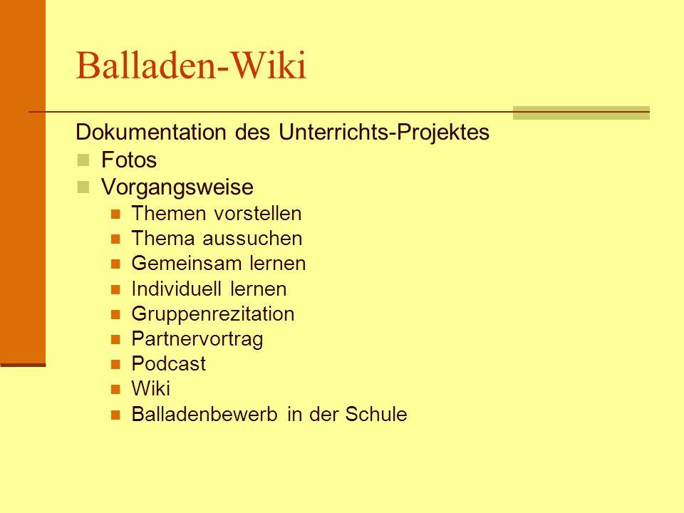 Balladen-Wiki Dokumentation des Unterrichts-Projektes Fotos