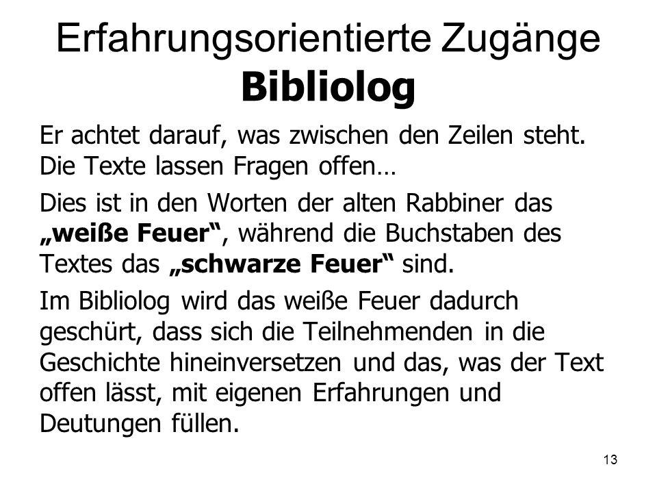 Erfahrungsorientierte Zugänge Bibliolog