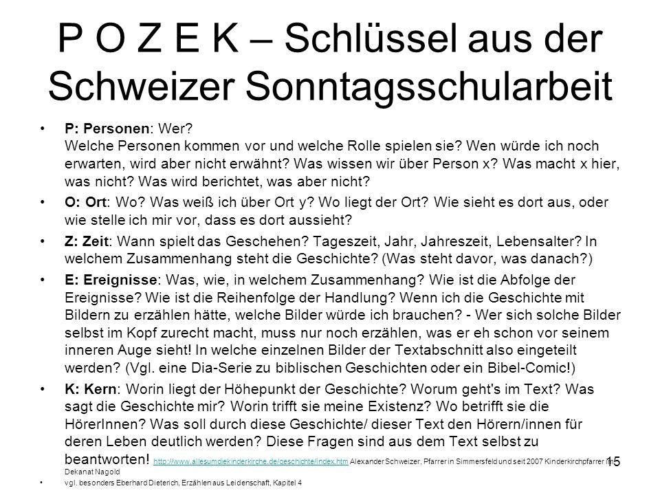 P O Z E K – Schlüssel aus der Schweizer Sonntagsschularbeit
