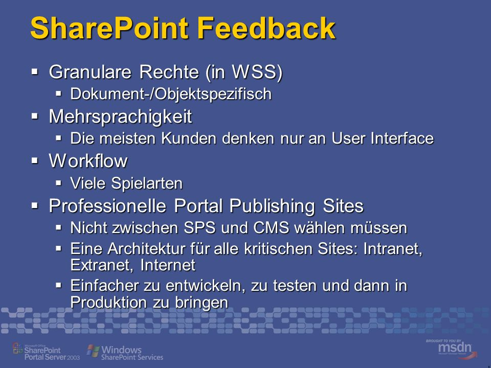SharePoint Feedback Granulare Rechte (in WSS) Mehrsprachigkeit