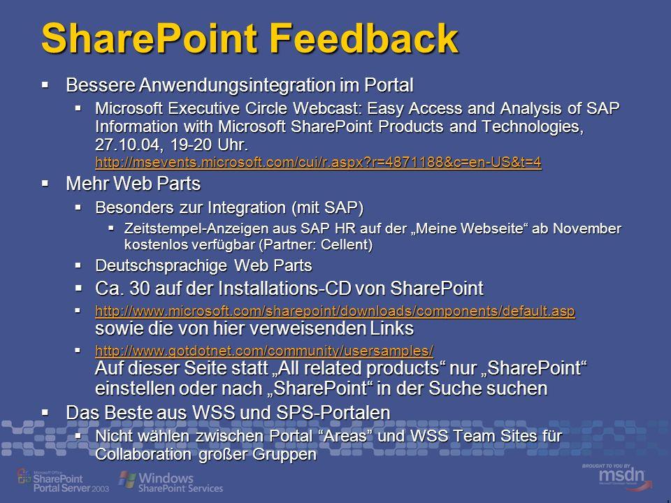 SharePoint Feedback Bessere Anwendungsintegration im Portal