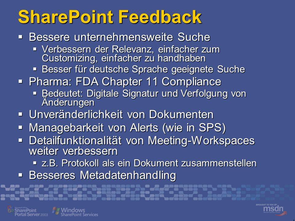 SharePoint Feedback Bessere unternehmensweite Suche