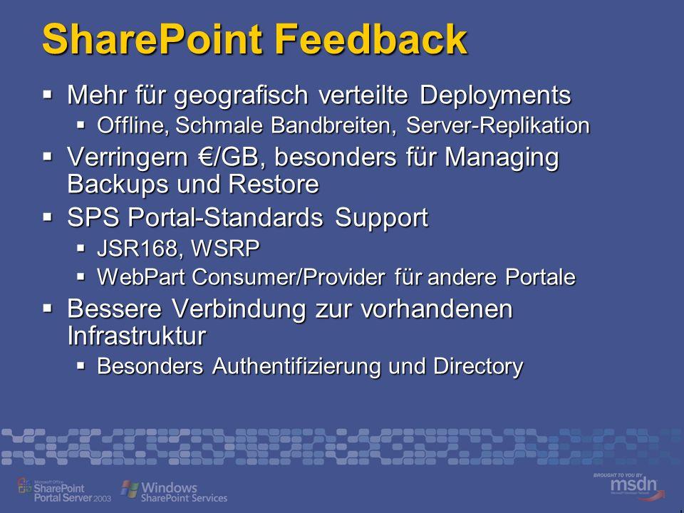 SharePoint Feedback Mehr für geografisch verteilte Deployments