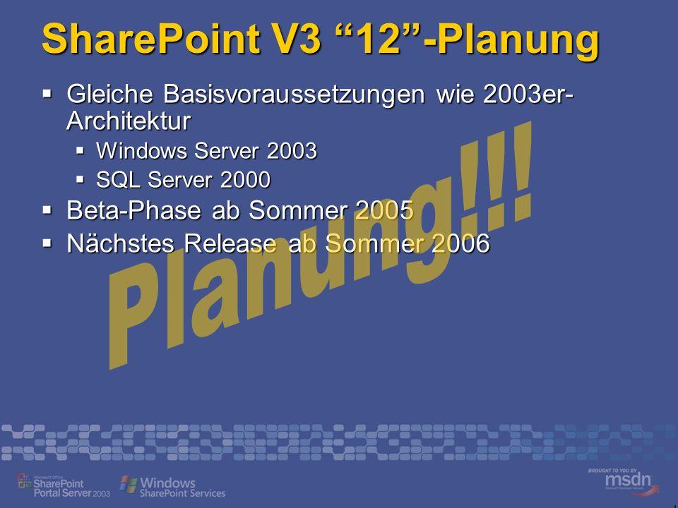 SharePoint V3 12 -Planung