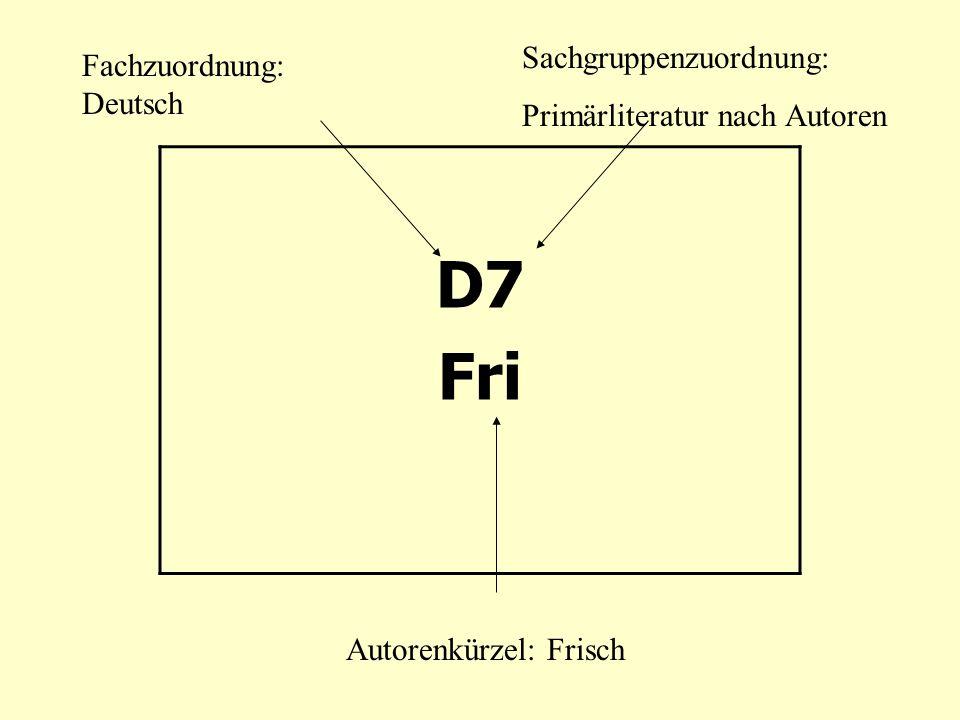 D7 Fri Sachgruppenzuordnung: Fachzuordnung: Deutsch