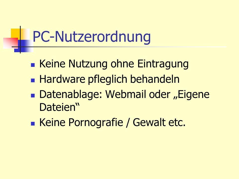 PC-Nutzerordnung Keine Nutzung ohne Eintragung