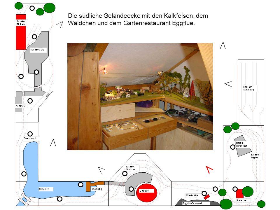 Die südliche Geländeecke mit den Kalkfelsen, dem Wäldchen und dem Gartenrestaurant Eggflue.