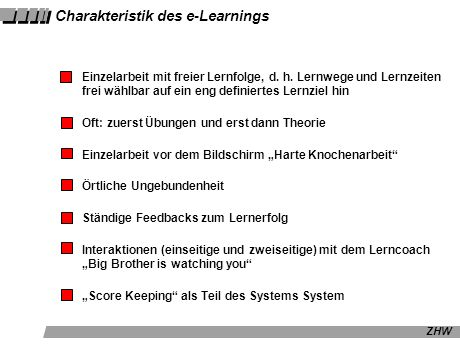 Charakteristik des e-Learnings