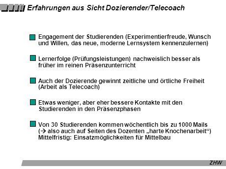 Erfahrungen aus Sicht Dozierender/Telecoach