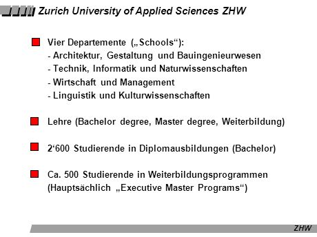 Zurich University of Applied Sciences ZHW