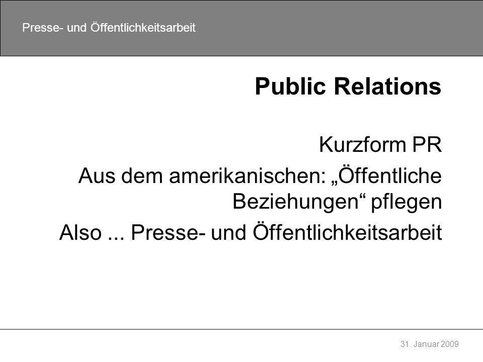Public Relations Kurzform PR