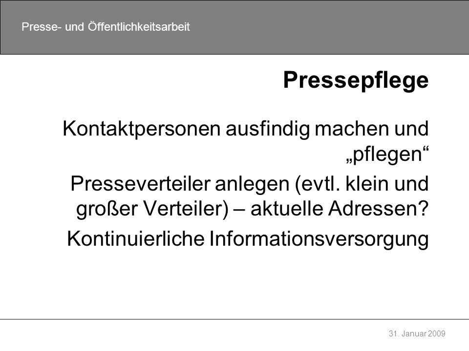 """Pressepflege Kontaktpersonen ausfindig machen und """"pflegen"""