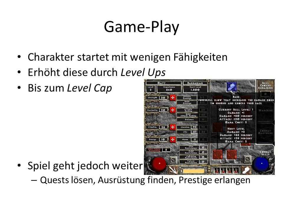 Game-Play Charakter startet mit wenigen Fähigkeiten