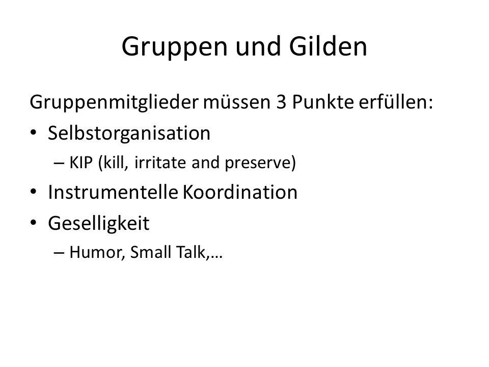 Gruppen und Gilden Gruppenmitglieder müssen 3 Punkte erfüllen: