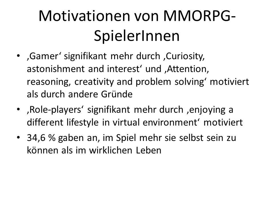 Motivationen von MMORPG-SpielerInnen
