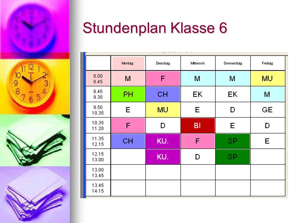 Stundenplan Klasse 6